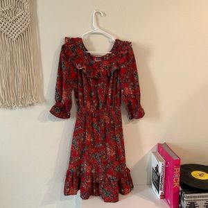Vintage Red Floral Ruffle dress